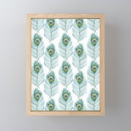 Peacock Feather pattern Framed Mini Art Print