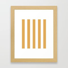 Sunray brown - solid color - white vertical lines pattern Framed Art Print