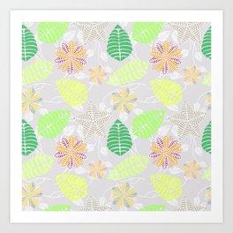 Colorful Tropical Floral Leaf Pattern Art Print