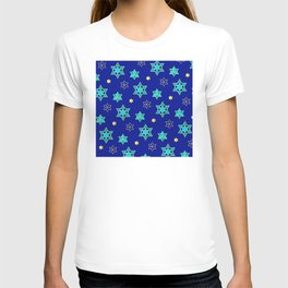 Hanukkah Jewish Star Geometric Pattern in Blue Contemporary T-shirt