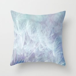 Whimsical Blue Dandelion Throw Pillow