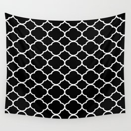Black & White Moroccan Quatrefoil Design Wall Tapestry
