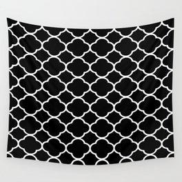 Black & White Moroccan Quatrefoil Design Wall Tapestry
