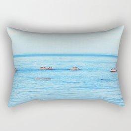 Bird Filled Rocks and a Whale Rectangular Pillow