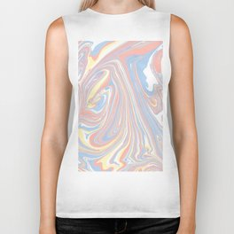 Abstract modern coral white yellow blue watercolor marble Biker Tank