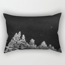 Stars and Pine Trees (Black and White) Rectangular Pillow