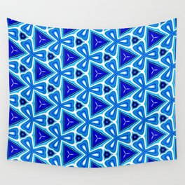 Bright blue Geometric Pattern Design Wall Tapestry