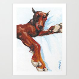 Doberman - Do Not Disturb! Art Print