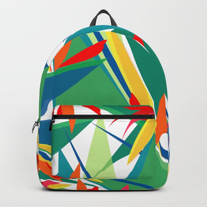 Tropical floral composition, exotic flowers, birds of paradise. Backpack