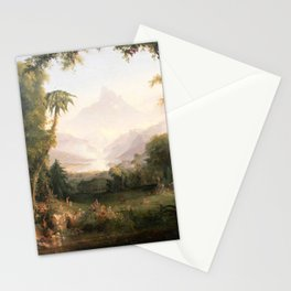 Garden of Eden Paradise with Penitent Adam and Eve landscape painting by Thomas Cole Stationery Cards