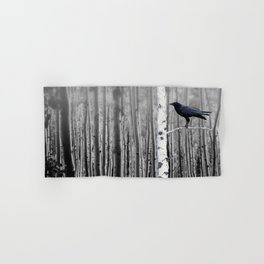 Black Bird Crow Tree Birch Forrest Black White Country Art A135 Hand & Bath Towel