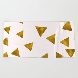 Soft Pink And Rustic Gold Triangles Beach Towel
