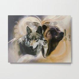 Wolf, Bear, Owl Spirit Animals Metal Print