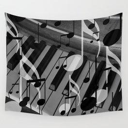 music notes white black piano keys Wall Tapestry