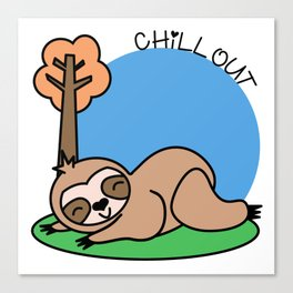 Felhy the chilled kawaii sloth Canvas Print