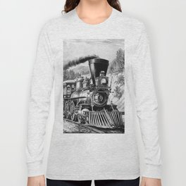The Express Train: Currier & Ives 1870 Long Sleeve T-shirt