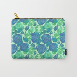 Blue Roses Floral Pattern // Roses Watercolor //Hand Drawn Roses Pattern// Blue & Green Carry-All Pouch