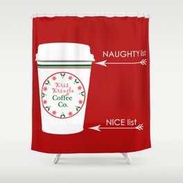 Christmas Naughty Nice Coffee Cup Shower Curtain