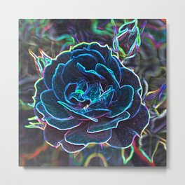 Swirly Blue Neon Rose Metal Print