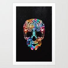 Cranium Butterflies (Black & Color Option) Art Print