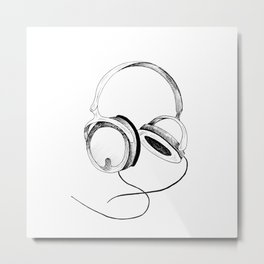 Headphones. Sketch style, black and white print. Metal Print