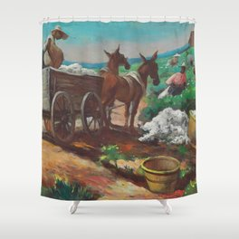 Classical Masterpiece 'Cotton Picking and Loading' by Thomas Hart Benton Shower Curtain
