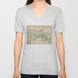 Attacks of Fort Washington Map (November 16, 1776) Unisex V-Neck