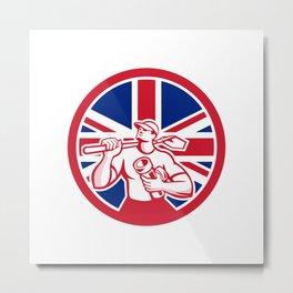 British Drainlayer Union Jack Flag Icon Metal Print