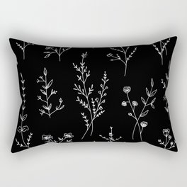 New Black Wildflowers Rectangular Pillow