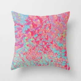 Pink a Blue Abstract Paintng Throw Pillow