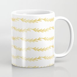 Luxe Gold Christmas Tree Branch Stripes Vector Pattern, Drawn Seamless Coffee Mug