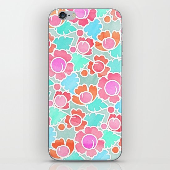 Pastel Tropical Floral Pattern Design with watercolor texture iPhone & iPod Skin