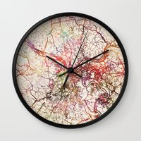 pittsburgh Wall Clocks featuring Pittsburgh by MapMapMaps.Watercolors