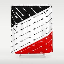 Red black , white pattern Boom 2 . Shower Curtain