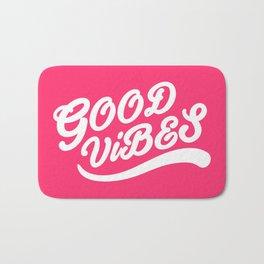 Good Vibes Happy Uplifting Design White And Magenta Bath Mat