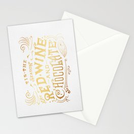 Tis the Season for Red Wine and Chocolate – White Stationery Cards
