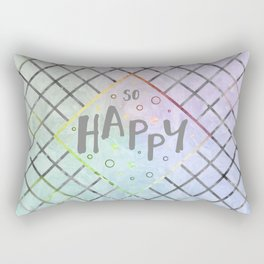 Text Art SO HAPPY | rainbow-colored Rectangular Pillow
