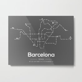 Barcelona Subway Map Grey Metal Print