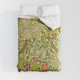 William Morris Calla Lilies, Tulips, Daffodils, & Red Poppies Textile Print Comforters