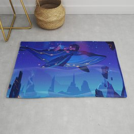 Synthwave Space: Whale and child Rug
