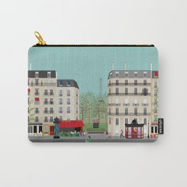 Paris Street Scene Art Print - Daytime Carry-All Pouch