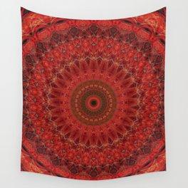 Mandala in pastel red and orange tones Wall Tapestry