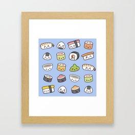Happy kawaii sushi pattern Framed Art Print