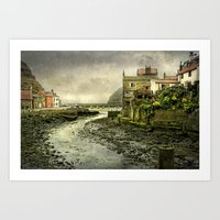 cassia beck Art Prints featuring The Beck at Staithes by tarrby/Brian Tarr