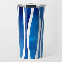Blue Watercolor Brushstrokes Travel Mug