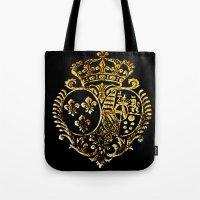 fleur de lis Tote Bags featuring Fleur De Lis by Saundra Myles
