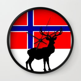 Norwegian Flag with Caribou Silhouette Wall Clock
