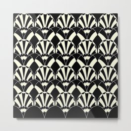 Art Deco Fans 1.3 Black Background Silver & Cream Metal Print