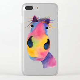 Happy Horse ' PeNeLOPE PiMMs ' by Shirley MacArthur Clear iPhone Case