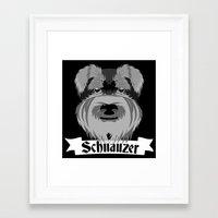 schnauzer Framed Art Prints featuring Schnauzer by mailboxdisco
